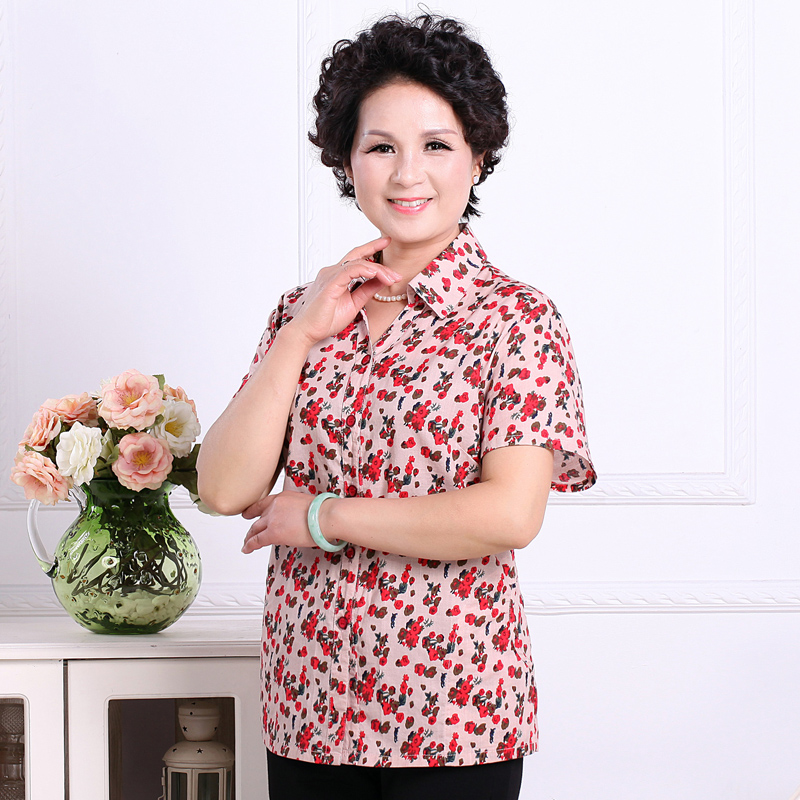 Mando central years of women's summer mother dress shirt elderly grandmother dress summer flower shirt short sleeve shirt thin