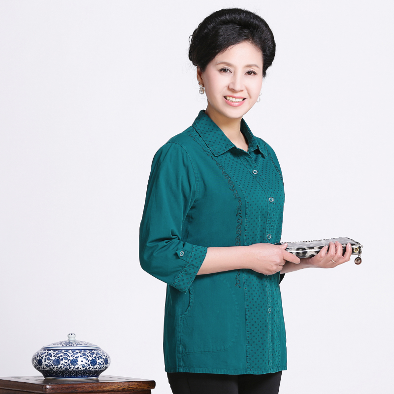 Mando hua autumn new mother dress cotton sleeve cotton shirt open shirt elderly grandmother dress shirt summer