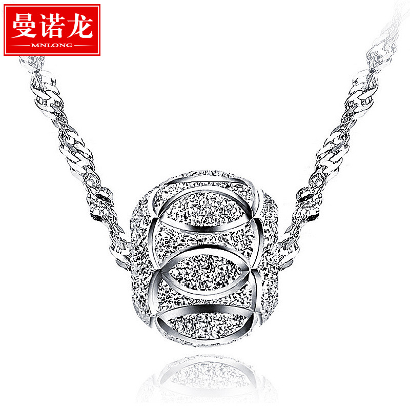 Manno long transfer beads 925 silver necklace female clavicle chain silver jewelry national wind pendant birthday gift lettering