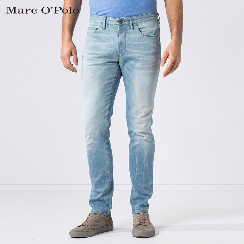 Marc o 'five pocket polo slim low waist denim trousers male european and american minimalist casual and comfortable long pants men