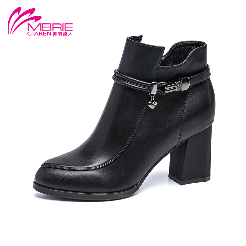Marie claire 2016 new winter boots thick with female fashion warm plush boots duantong round side pull chain