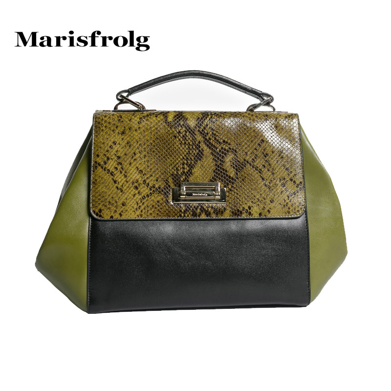 Marisfrolg masifeier retro python handbag counter genuine spring new hit color leather handbags