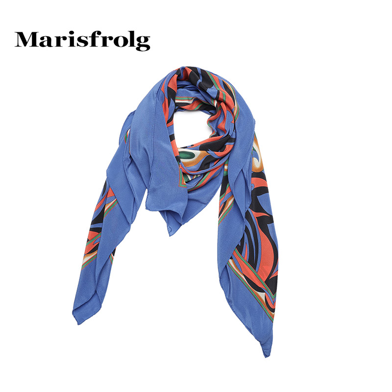 Marisfrolg masifeier silk printed square wild silk scarf counter genuine summer new accessorise