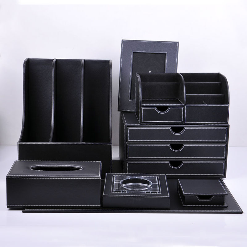 Masaomi shi black leather office suite 8 sets of creative document holder multifunctional storage box three pumping cabinet