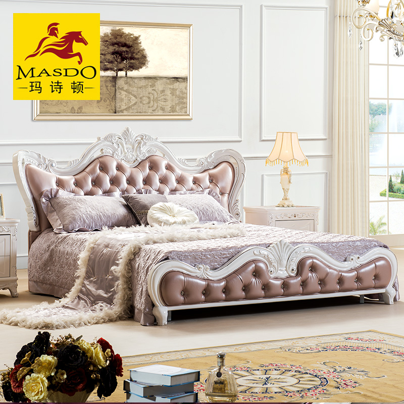 Masdo euclidian pure wood carved neoclassical french double bed software bed leather soft bed wood bed