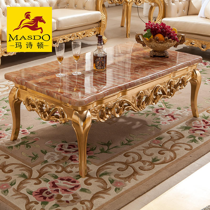 Masdo European Paint Carved Gold Foil Neoclassical Marble Coffee Table A  Few Square Coffee Table Corner