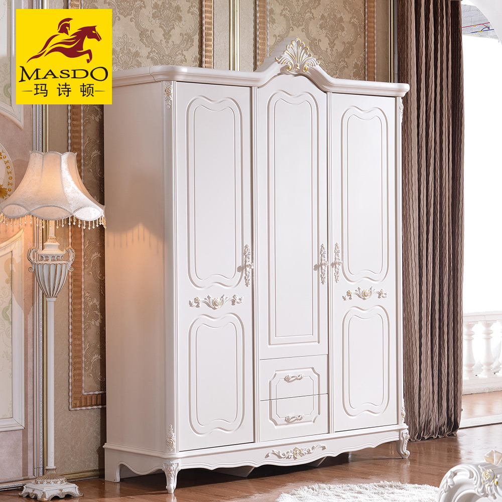 Masdo european solid wood carved french wardrobe closet wardrobe try wardrobe continental bedroom furniture combination