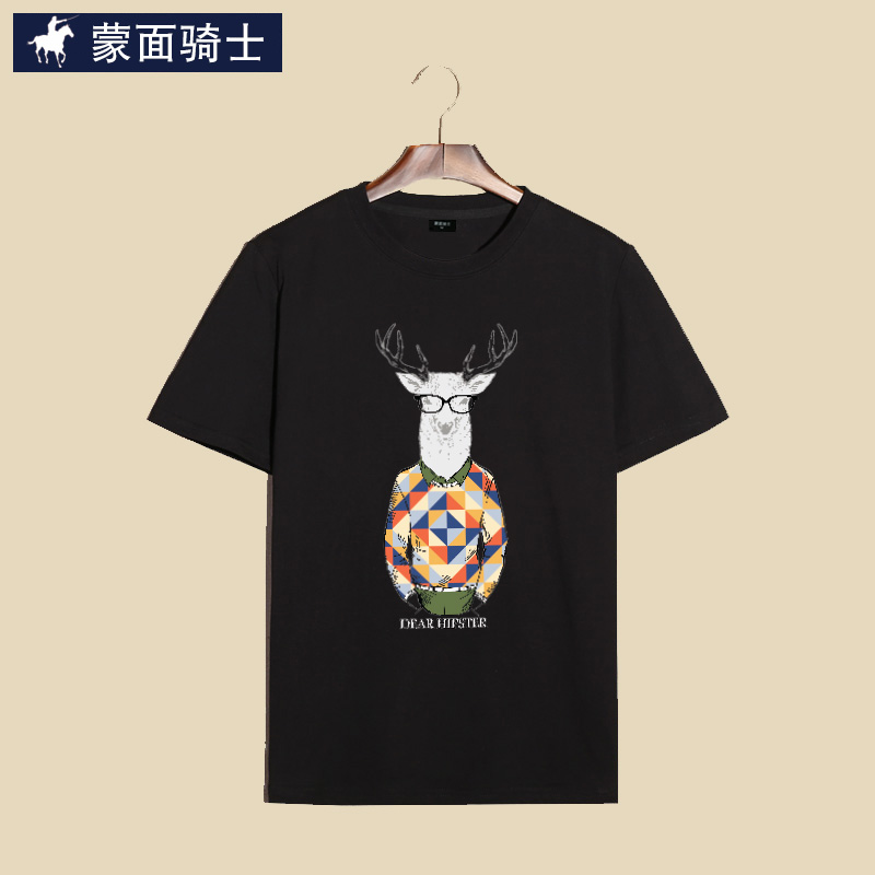 Masked rider summer new trend printing deer mr. day series men's cotton t-shirt men short sleeve t-shirt tide