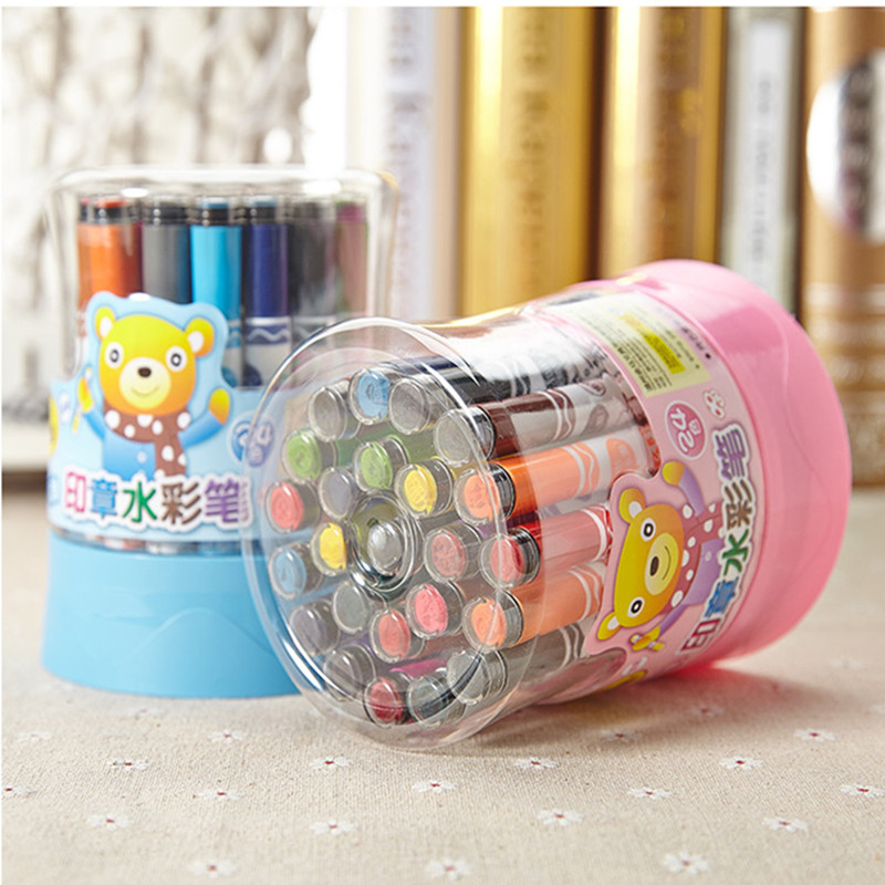 Master 12/18/24/36 color stamp washable watercolor pen children's graffiti drawing pen barrel cask ZW-205