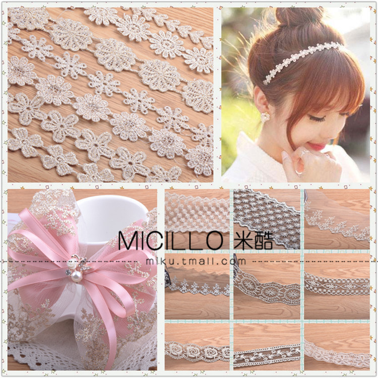 Material diy handmade hair accessories hairpin headdress hair bands with motif lace wild cotton bow accessories and even strip