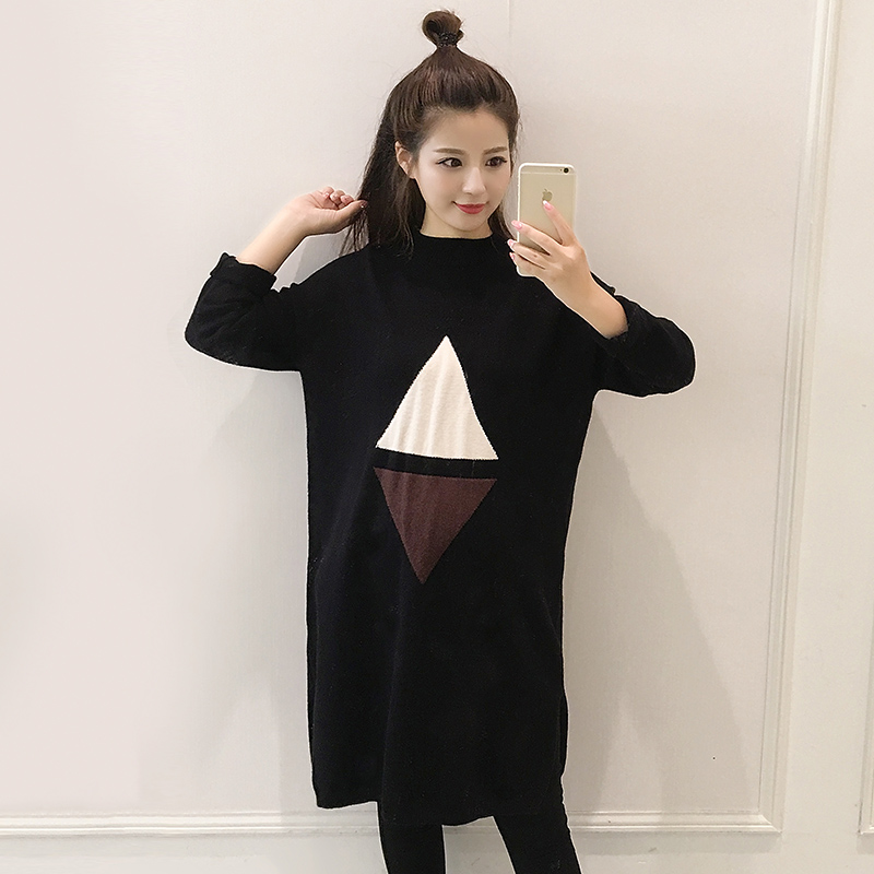 Maternity 2016 fall and winter clothes korean version of the geometric pattern knit sweater and a half high collar long sleeve blouse and long sections