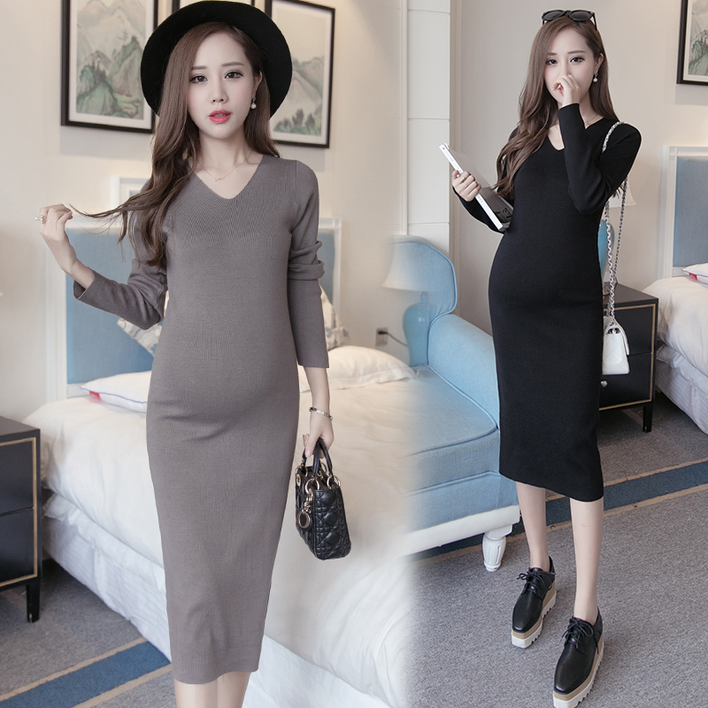 Maternity fall and winter clothes maternity pregnant women sweater coat and long sections of pregnant women bottoming shirt tide mom maternity dress pregnant women dress winter