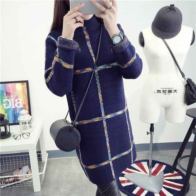 Maternity fall and winter clothes new korean version of large size sweater long section of pregnant women with high collar and a half thick winter coat pregnant