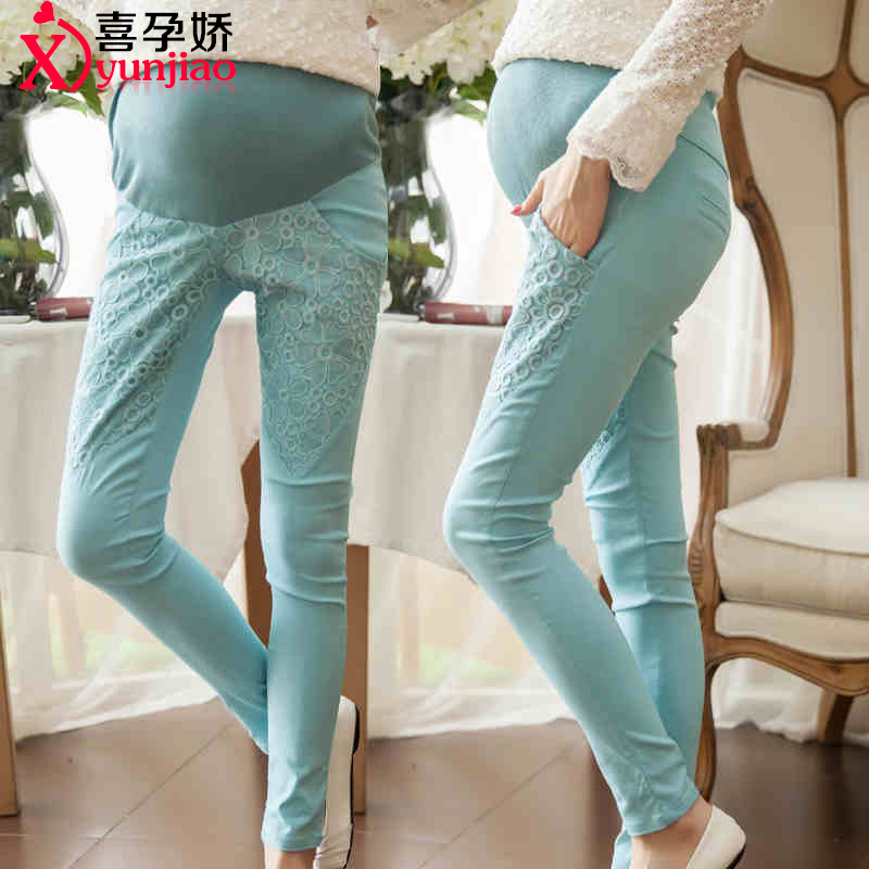 Maternity pants spring thin section trousers care of pregnant women belly pants feet outer wear leggings korean version of the bud silk pencil pants pregnant women spring
