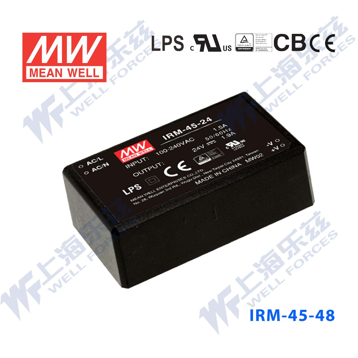 Meanwell subminiature IRM-45-48 ac-dc power supply module 45.12 w 48v0. 94a pin type [including tax