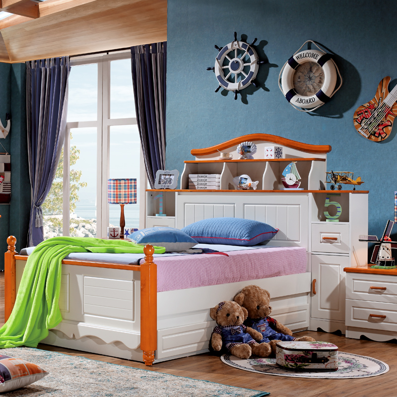 Mediterranean bed beds for children boys high pressure storage bed box bed with bookshelf children's furniture girl