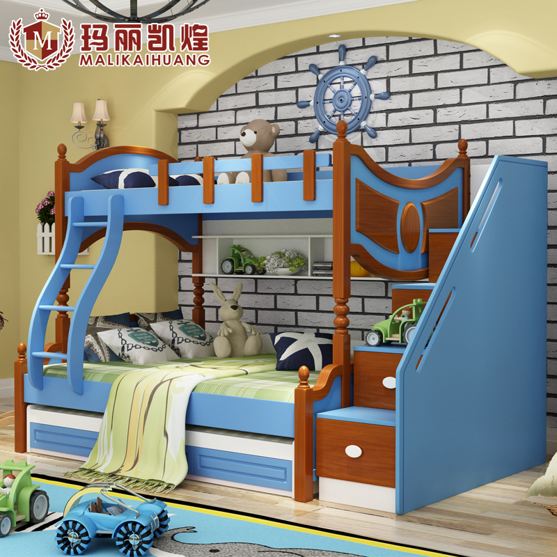 Mediterranean solid wood children's bed bunk bed bunk bed bunk bed 1.5 m bed children bed bunk bed combination bed