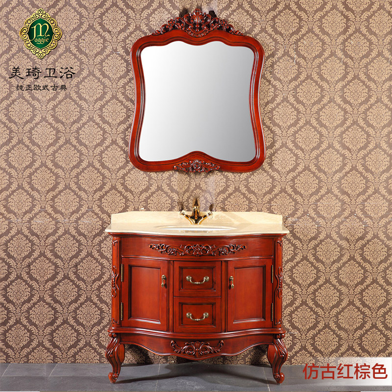 Mei qi 8753A manual toilet bathroom wash continental carved antique bathroom cabinet combination of solid wood furniture