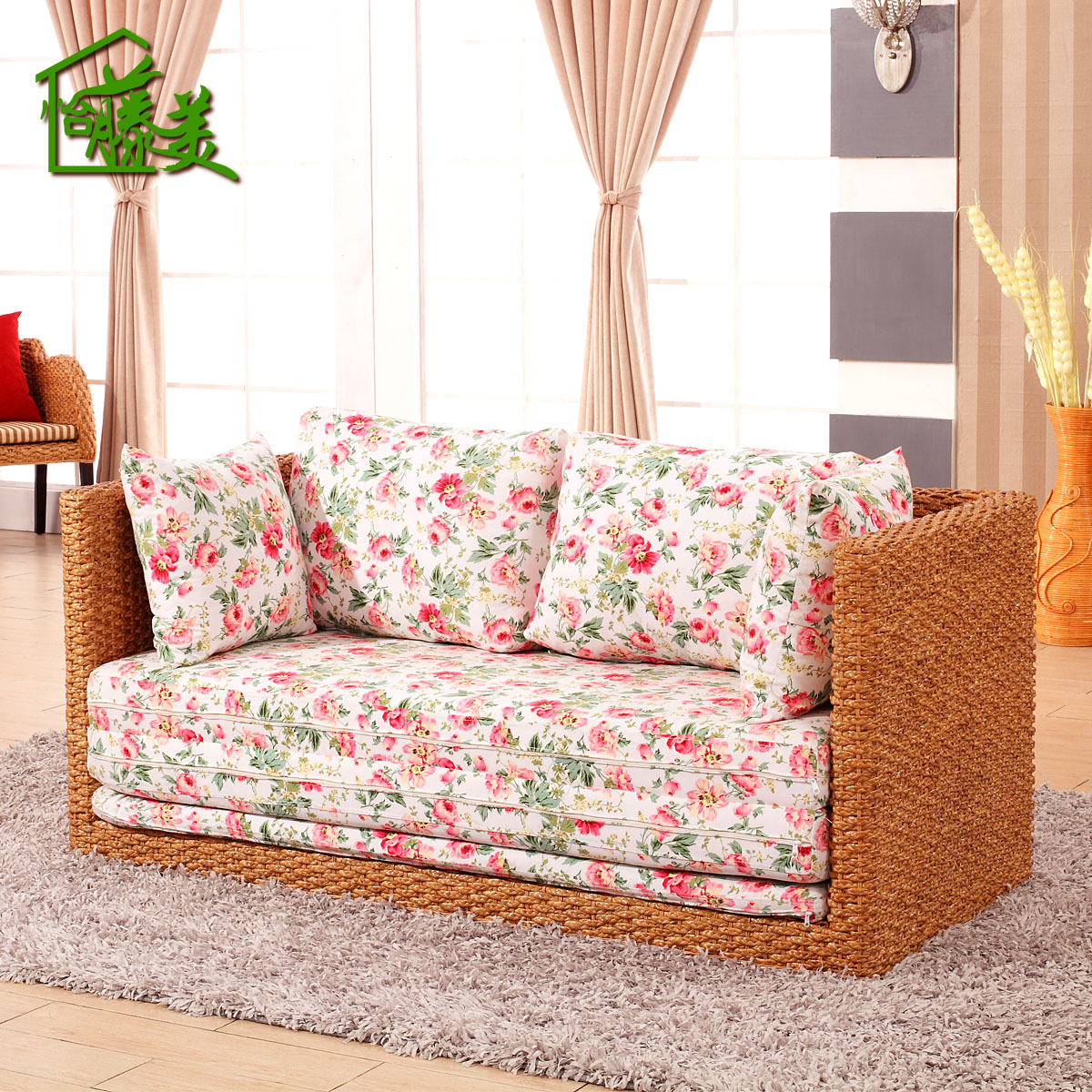 Mei yi rattan furniture rattan cane rattan sofa bed folding small apartment living room pastoral double