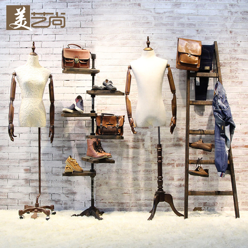 Mei yi shang american vintage clothing rack bag rack clothing store shelf display floor against a wall shelf rack wrought iron