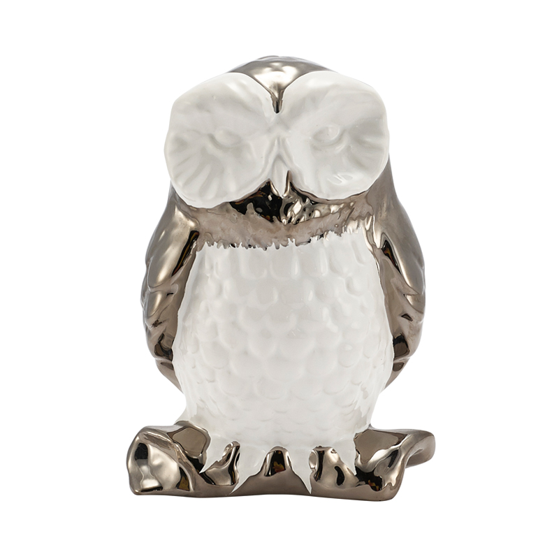 Meike home yvvy Y1001000110 platinum and gold ceramic owl desktop ornaments decorations