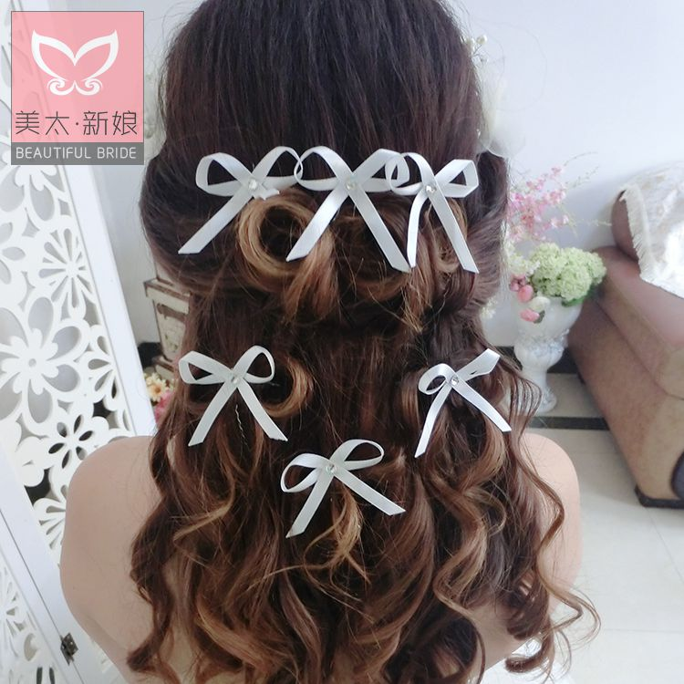 Meitai korean bow diamond wedding tiara dish made hairpin bride wedding dress with jewelry c0099
