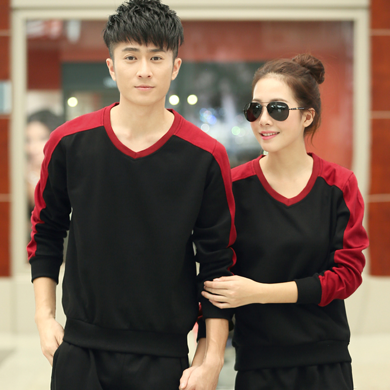 Men and women sports sweater xl 2016 spring and autumn casual couple hit the color stripe long sleeve shirt fashion shirt
