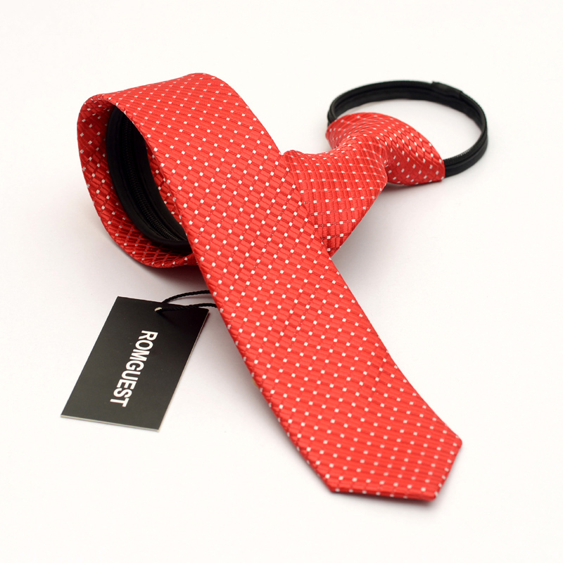 Men korean narrow tie zipper tie easy to pull a red tie groom wedding business casual lazy influx of young