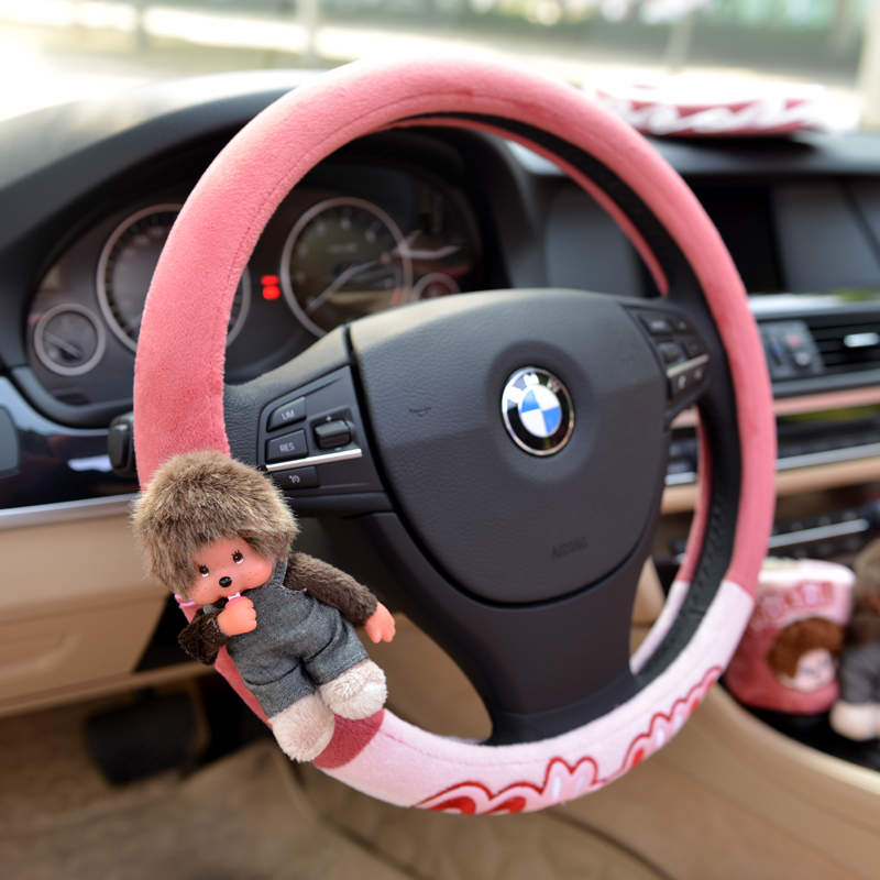 Meng nini cartoon steering wheel cover to keep warm in winter plush car cover to cover south korea four seasons cartoon can love