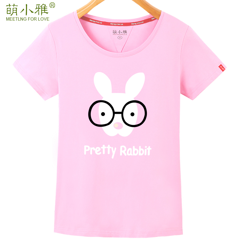 Meng xiaoya 2016 new personality pattern short sleeve t-shirt female summer cartoon printed round neck t-shirt slim students loaded
