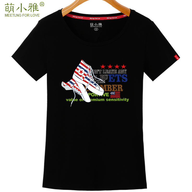 Meng xiaoya 2016 new short sleeve t-shirt female summer korean version of the printed round neck t-shirt slim was thin fashion students loaded