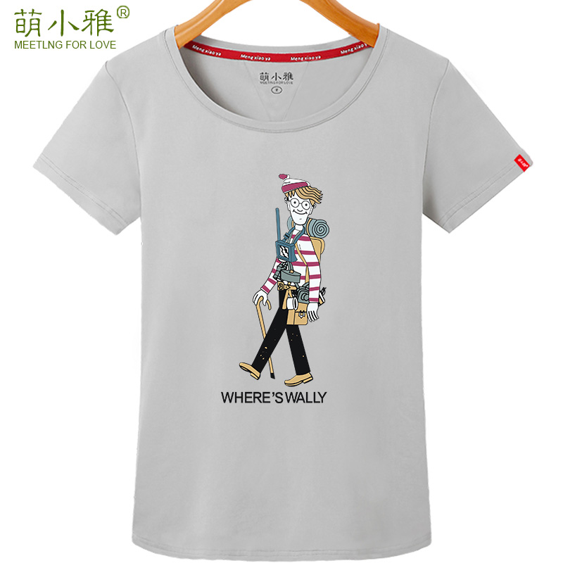 Meng xiaoya summer personalized printing short sleeve t-shirt female tide korean version of casual students loose shirt compassionate