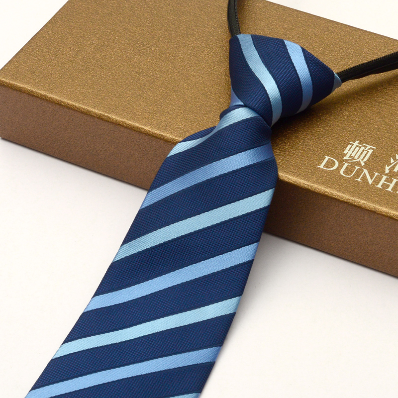 Men's business suits career tie zipper tie easy to pull lazy convenient tie marriage tie blue striped tie student
