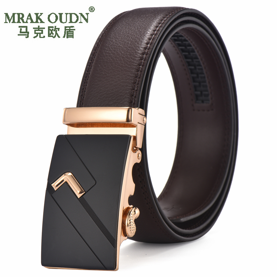 Men's leather belt automatic buckle leather belt business belt young students korean version of casual men's waistband