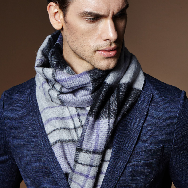 Men's scarves korean winter scarf plaid wool scarf upscale business gift box hundred take casual british young people
