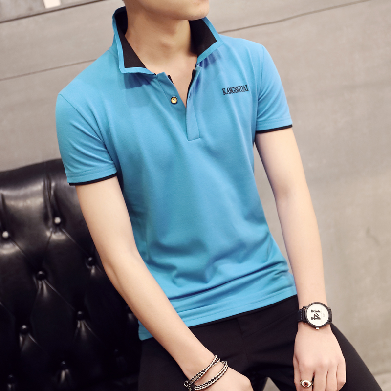 580ed3bef Get Quotations · Men's short sleeve polo shirt collar sleeve t-shirt influx  of men solid color t