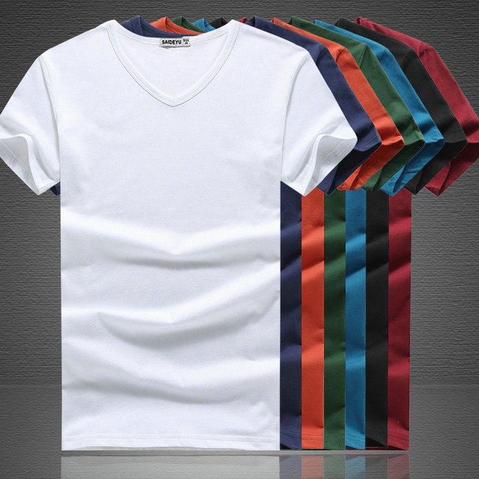 Men's short sleeve slim cotton men's solid black and white half sleeve v-neck t-shirt summer influx of male teenagers bottoming shirt