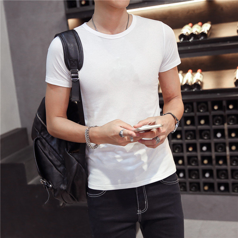 Men's solid color short sleeve t-shirt compassionate white black slim tight backing shirt sleeve summer influx of men clothes