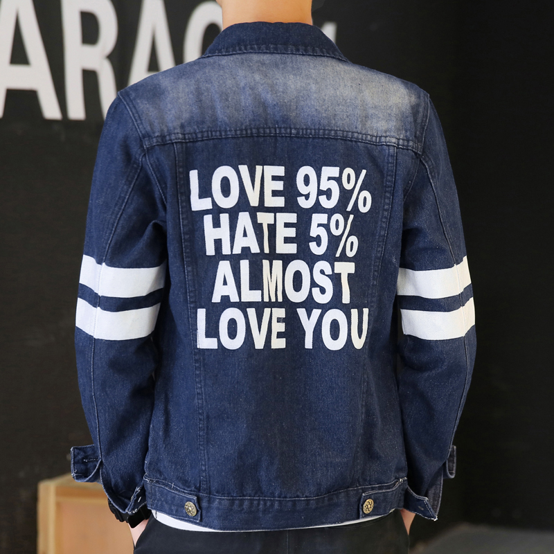 Men's spring and autumn denim jacket coat slim male teenagers tide korean version of casual dress printed denim clothes men