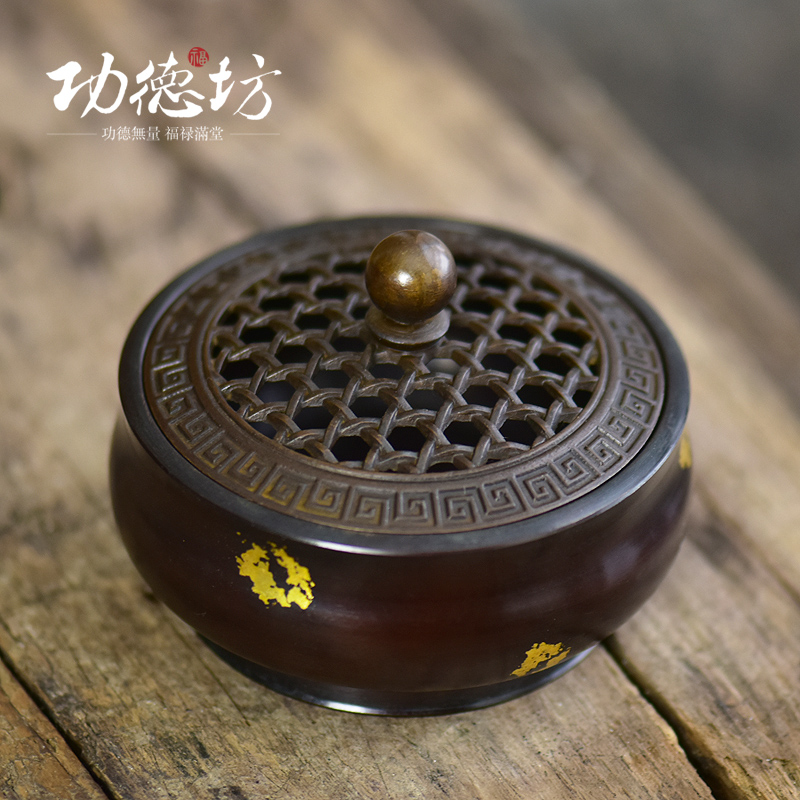 Merit square trumpet lost wax casting ideas copper brass incense burner plate sandalwood incense burner stove vaporizer antique copper incense burner