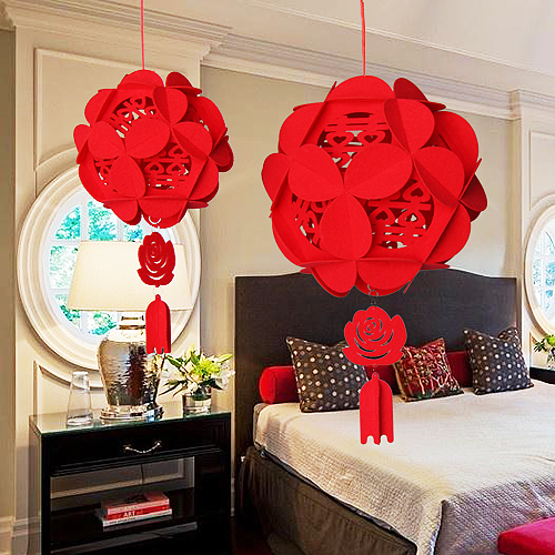 Met the love wedding celebration ornaments woven pendant flannel hi word red hydrangea palace lanterns arranged marriage room decoration supplies
