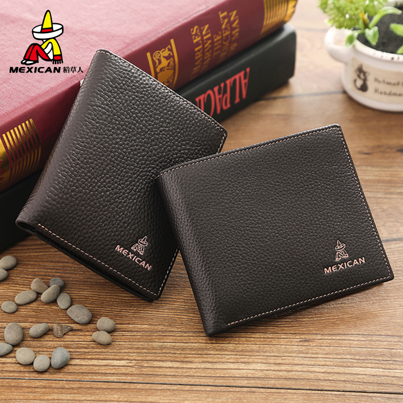 Mexican/scarecrow scarecrow wallet men first layer of leather men's leather wallet short paragraph korean version wallet