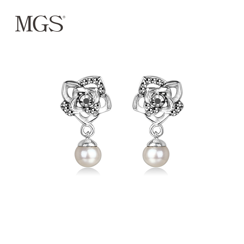 Mgs/mangu silver bangkok positive brand korean version of the retro earrings silver jewelry retro fashion earrings white pearl earrings