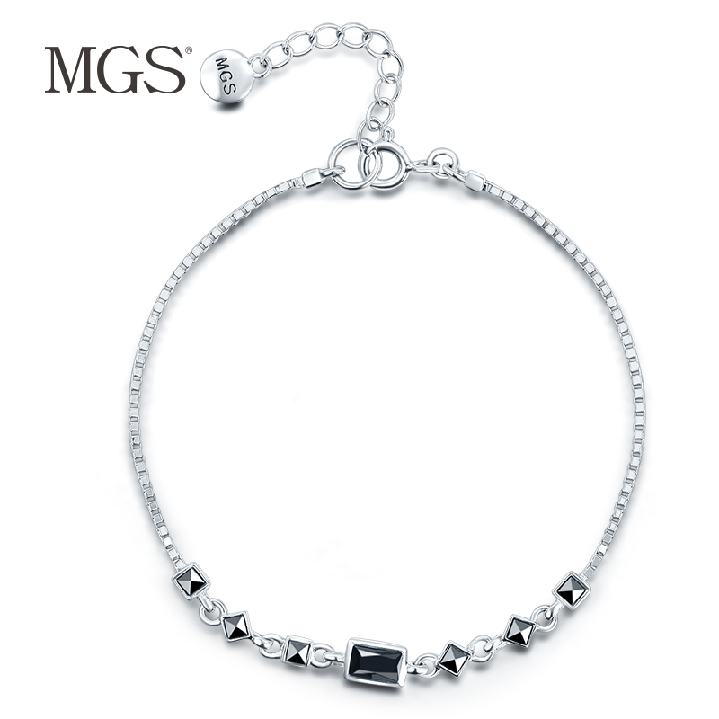 Mgs/mangu silver bangkok silver bracelet korean version of the positive fashion brand retro silver agate hand string bracelet decorated female