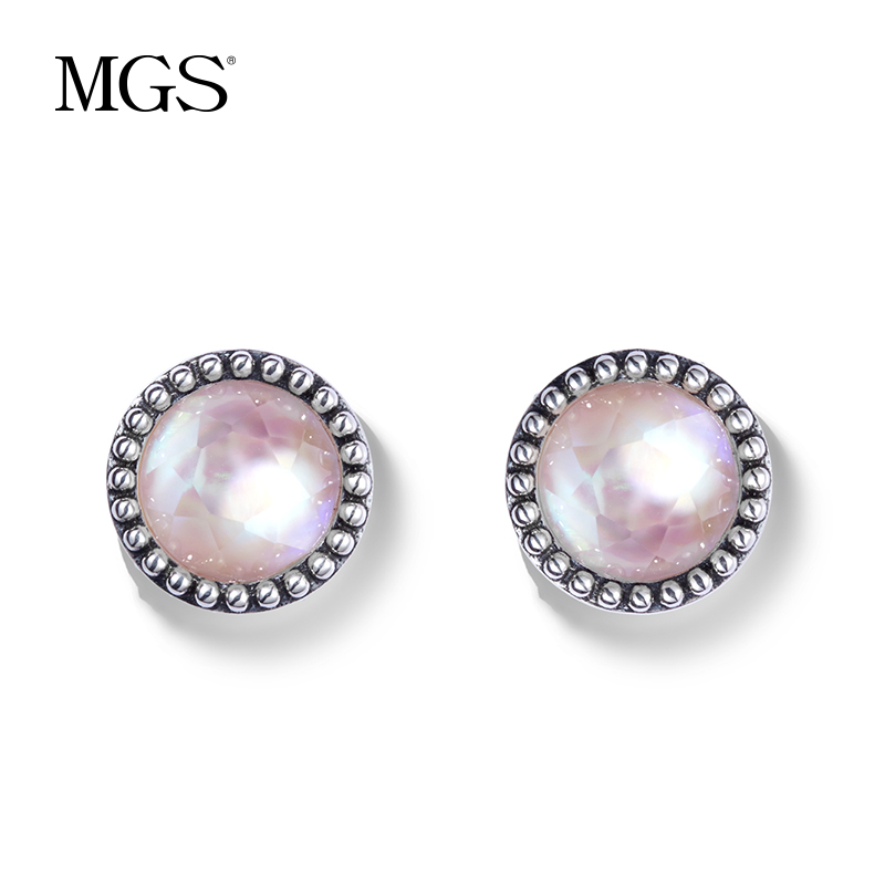 Mgs/mangu silver bangkok silver gift retro positive brand korean fashion earrings crystal earrings earrings female 925 silver dollar