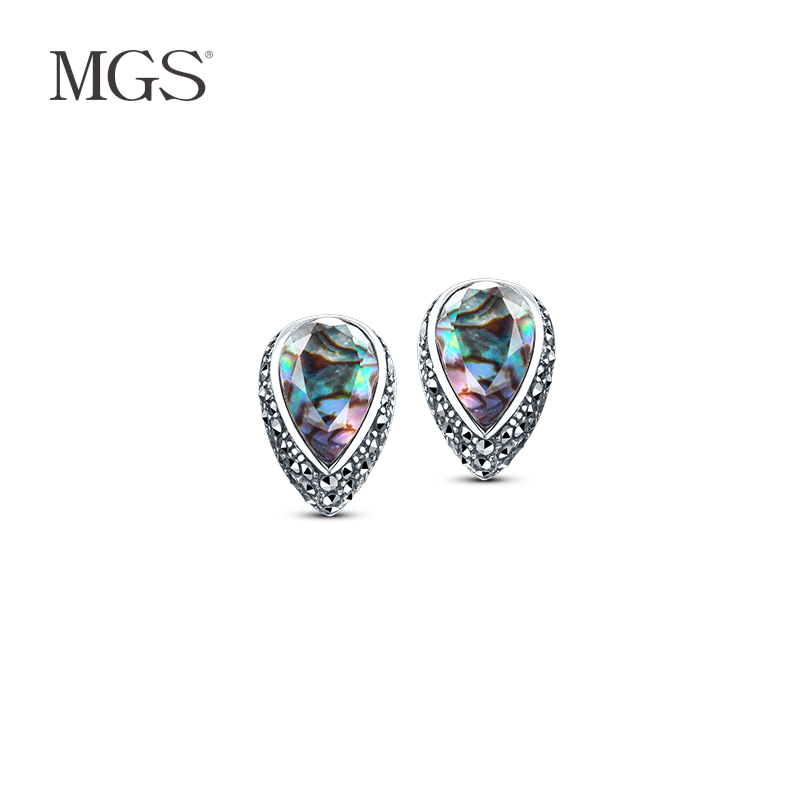 Mgs/mangu silver bangkok thai silver 925 silver retro fashion carved positive brand earrings earrings female