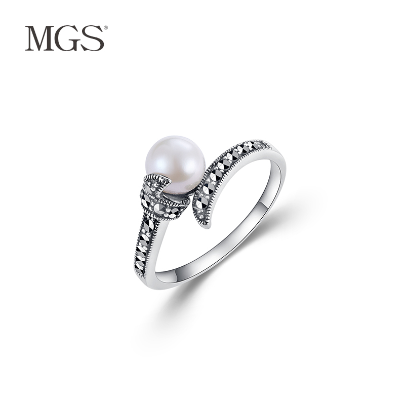 Mgs/mangu silver marcasite bangkok silver gift temperament retro fashion jewelry white pearl silver ring ring ring female
