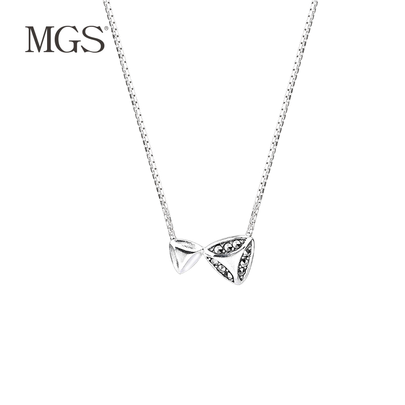 Mgs/mangu silver marcasite bangkok silver simple clavicle chain pendant female female retro necklace gift to send his girlfriend