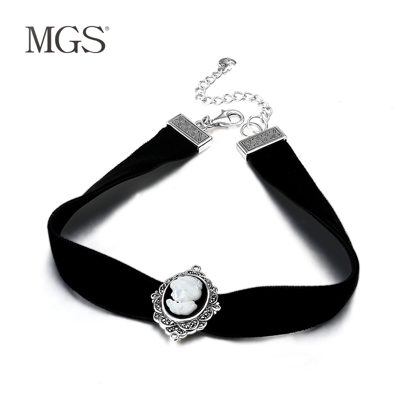 Mgs/mangu silver retro bangkok agates princess necklace choker necklace collar necklace female short paragraph female