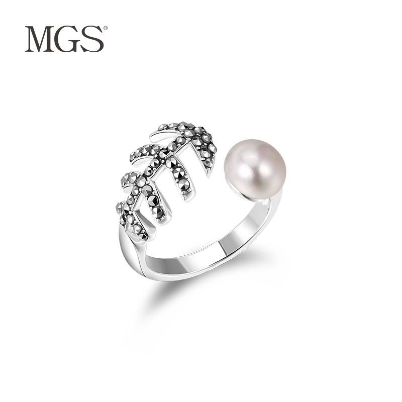 Mgs/mangu silver retro bangkok inlaid pearl ring ring opening can be adjusted when still wild gift